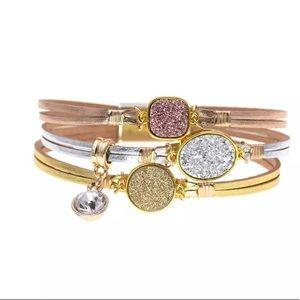 Jewelry - New- 3 tone wrap leather bracelet